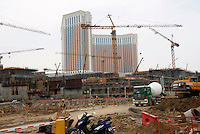 Construction on the Venetian complex on the Cotai strip, Macau.<br /> May 08, 2007