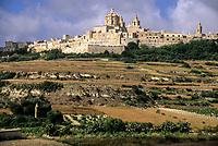 Mdina, Malta. Hilltop, City Walls, Church, Terraced Agricultural Fields