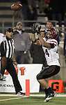 San Diego State's Adam Roberts (44) catches the game winning two-point conversion in overtime during an NCAA college football game in Reno, Nev., on Saturday, Oct. 20, 2012. San Diego State defeated Nevada 39-38 in overtime. (AP Photo/Cathleen Allison)