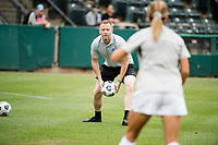 TACOMA, WA - JULY 31: Racing Louisville FC head coach Christy Holly before a game between Racing Louisville FC and OL Reign at Cheney Stadium on July 31, 2021 in Tacoma, Washington.