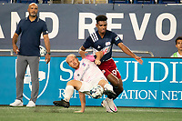 FOXBOROUGH, MA - SEPTEMBER 04: Eric Leonard #3 Forward Madison FC plays the ball off the ground to prevent Orlando Sinclair #99 of New England Revolution II from getting it during a game between Forward Madison FC and New England Revolution II at Gillette Stadium on September 04, 2020 in Foxborough, Massachusetts.