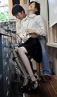 The world's first robot teacher, SAYA, is put into her chair in a Tokyo primary school after a lesson. SAYA has been in development for the past 15 years by Professor Hiroshi Kobayashi at the Department of Mechanical Engineering at Tokyo University of Science. SAYA can talk and has a full range of facial expressions..