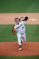 UCF Knights relief pitcher Ryan Saltonstall (28) delivers a pitch during a game against the Siena Saints on February 17, 2019 at John Euliano Park in Orlando, Florida.  UCF defeated Siena 7-1.  (Mike Janes/Four Seam Images)
