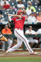 Louisville Cardinals first baseman Logan Wyatt (43) follows through on his swing during Game 7 of the NCAA College World Series against the Auburn Tigers on June 18, 2019 at TD Ameritrade Park in Omaha, Nebraska. Louisville defeated Auburn 5-3. (Andrew Woolley/Four Seam Images)