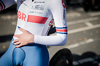 national coloured nails for 3rd place finisher / bronze medalist Elynor Bäckstedt (GBR)<br /> <br /> post-race moments at the Women Junior Individual Time Trial<br /> <br /> 2019 Road World Championships Yorkshire (GBR)<br /> <br /> ©kramon