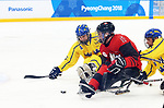 Pyeongchang, Korea, 10/3/2018-Ben Delaneyof Canada plays Sweden in hockey during the 2018 Paralympic Games in PyeongChang. Photo Scott Grant/Canadian Paralympic Committee.
