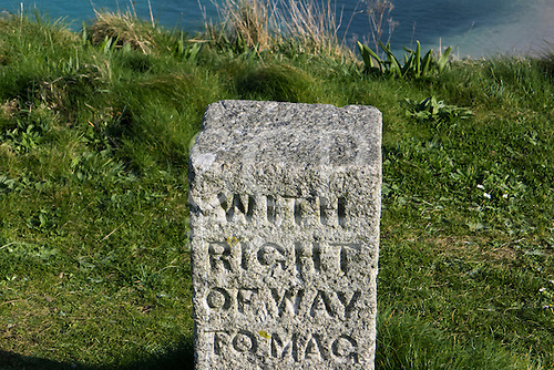 St Ives, Cornwall, England. Right of Way stone marker.