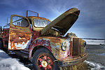 Vintage truck at Giant Yellowknife Gold Mine site.