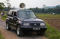 Borobudur, Java, Indonesia.  Political Party Vehicle Broadcasting Message in Rural Area.