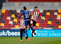 §20th March 2021; Brentford Community Stadium, London, England; English Football League Championship Football, Brentford FC versus Nottingham Forest; Christian Norgaard of Brentford and Cafu of Nottingham Forest compete for the ball