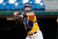 Carter Jensen (20) of Park Hill High School in Kansas City, MO during the Perfect Game National Showcase at Hoover Metropolitan Stadium on June 17, 2020 in Hoover, Alabama. (Mike Janes/Four Seam Images)