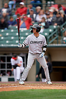 Charlotte Knights Ryan Goins (1) bats during an International League game against the Rochester Red Wings on June 16, 2019 at Frontier Field in Rochester, New York.  Rochester defeated Charlotte 3-2 in the second game of a doubleheader.  (Mike Janes/Four Seam Images)