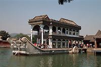 China, Sommerpalast in Peking, Marmorboot, Unesco-Weltkulturerbe