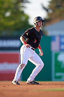 Batavia Muckdogs Nic Ready (3) leads off during a NY-Penn League game against the State College Spikes on July 1, 2019 at Dwyer Stadium in Batavia, New York.  Batavia defeated State College 5-4.  (Mike Janes/Four Seam Images)