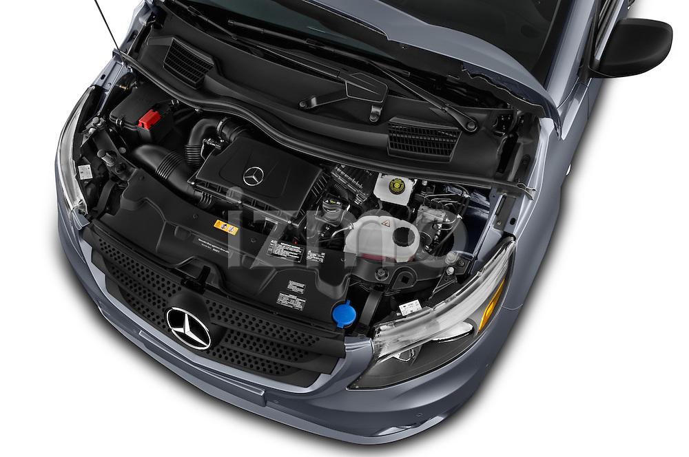 Car Stock 2018 Mercedes Benz Metris Passenger-Van 5 Door Passenger Van Engine  high angle detail view
