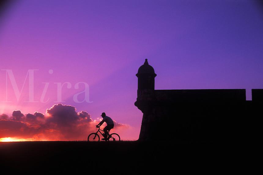 Sunset bike ride at El Morro Fort in Old San Juan, Puerto Rico