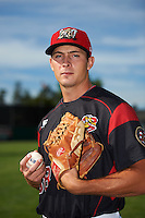 Batavia Muckdogs pitcher Sam Perez (38) poses for a photo before a game against the West Virginia Black Bears on June 30, 2016 at Dwyer Stadium in Batavia, New York.  Batavia defeated West Virginia 4-3.  (Mike Janes/Four Seam Images)