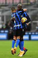 Romelu Lukaku of FC Internazionale celebrates with Alexis Sanchez after scoring a goal during the Serie A football match between FC Internazionale and Torino FC at stadio San Siro in Milano (Italy), November 22th, 2020. Photo Image Sport / Insidefoto