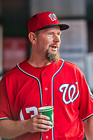 29 July 2017: Washington Nationals third base coach Bob Henley walks the dugout prior to a game against the Colorado Rockies at Nationals Park in Washington, DC. The Rockies defeated the Nationals 4-2 in the first game of their 3-game weekend series. Mandatory Credit: Ed Wolfstein Photo *** RAW (NEF) Image File Available ***