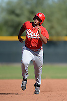 Cincinnati Reds first baseman Kevin Franklin (19) during an Instructional League game against the Texas Rangers on October 3, 2014 at Surprise Stadium Training Complex in Surprise, Arizona.  (Mike Janes/Four Seam Images)
