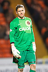 Dundee United v St Johnstone...12.03.14    SPFL<br /> A nightmare for keeper Radoslaw Cierzniak<br /> Picture by Graeme Hart.<br /> Copyright Perthshire Picture Agency<br /> Tel: 01738 623350  Mobile: 07990 594431