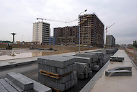 "Milano, periferia nord-est, progetto parco adriano. nuovi palazzi in costruzione nell'ambito di ammodernamento del quartiere Adriano, sull'area ex Magneti Marelli --- Milan, north-east periphery, ""Parco Adriano"" project. construction site for new residential buildings within the modernization plan of the Adriano district, on the former ""Magneti Marelli"" plant area"