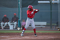 AZL Angels third baseman Daniel Ozoria (23) at bat during an Arizona League game against the AZL Giants Black at the San Francisco Giants Training Complex on July 1, 2018 in Scottsdale, Arizona. The AZL Giants Black defeated the AZL Angels by a score of 4-2. (Zachary Lucy/Four Seam Images)