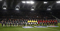 Football Soccer: UEFA Champions League AS Roma vs Chelsea Stadio Olimpico Rome, Italy, October 31, 2017. <br /> Chelsea's and AS Roma's  teams line up prior to the start of the Uefa Champions League football soccer match between AS Roma and Chelsea at Rome's Olympic stadium, October 31, 2017.<br /> UPDATE IMAGES PRESS/Isabella Bonotto