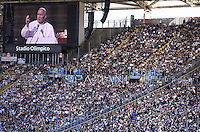 "Pope Francis  during a convention  organised by the ""Renewal in the Spirit""at the Olympic stadium in Rome on June 1, 2014."