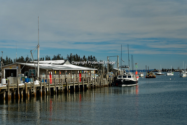 View of the harbor in Winter, Owls Head, Knox County, Maine, USA