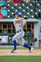 Ryan Brett (1) of the Durham Bulls follows through on his swing against the Charlotte Knights at BB&T BallPark on July 22, 2015 in Charlotte, North Carolina.  The Knights defeated the Bulls 6-4.  (Brian Westerholt/Four Seam Images)