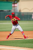 GCL Cardinals third baseman Francisco Hernandez (4) throws to first base during a Gulf Coast League game against the GCL Astros on August 11, 2019 at Roger Dean Stadium Complex in Jupiter, Florida.  GCL Cardinals defeated the GCL Astros 2-1.  (Mike Janes/Four Seam Images)