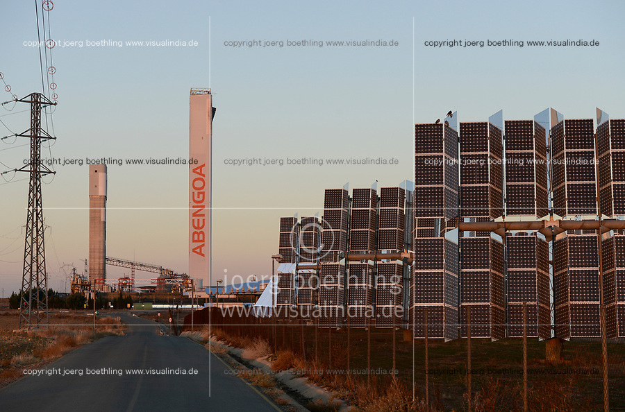 Spain, Seville, Sanlucar la Mayor, Solnova solar power station with flat heliostats and tower PS10 and PS20 by company Abengoa