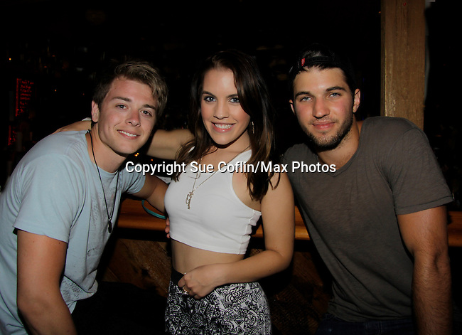 Chad Duell, Kristen Alderson, Bryan Craig at 15th Southwest Florida Soapfest 2014 Charity Weekend with a Bartending/Karaoke get together on May 26, 2104 at Porky's, Marco Island, Florida. (Photo by Sue Coflin/Max Photos)