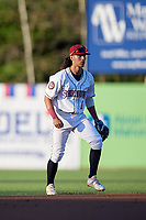 Mahoning Valley Scrappers third baseman Joab Gonzalez (6) during a NY-Penn League game against the State College Spikes on August 29, 2019 at Eastwood Field in Niles, Ohio.  State College defeated Mahoning Valley 8-1.  (Mike Janes/Four Seam Images)