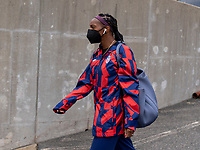 EAST HARTFORD, CT - JULY 5: Crystal Dunn #2 of the USWNT walks into the stadium during a game between Mexico and USWNT at Rentschler Field on July 5, 2021 in East Hartford, Connecticut.