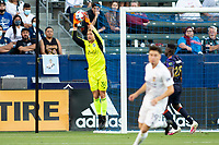 CARSON, CA - JUNE 19: Stefan Cleveland #30 GK of the Seattle Sounders FC with a save during a game between Seattle Sounders FC and Los Angeles Galaxy at Dignity Health Sports Park on June 19, 2021 in Carson, California.