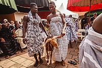 Africa, Ghana, Kumasi Ashanti King Otunfuoosu II royal cortege offers presents