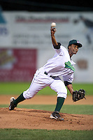 Jamestown Jammers pitcher Ramon Del Orbe #47 during the second game of a double header against the Hudson Valley Renegades at Russell Diethrick Park on August 6, 2012 in Jamestown, New York.  Hudson Valley defeated Jamestown 4-2.  (Mike Janes/Four Seam Images)