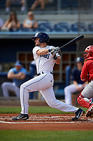 Charlotte Stone Crabs Jim Haley (20) bats during a Florida State League game against the Palm Beach Cardinals on April 14, 2019 at Charlotte Sports Park in Port Charlotte, Florida.  Palm Beach defeated Charlotte 5-3.  (Mike Janes/Four Seam Images)