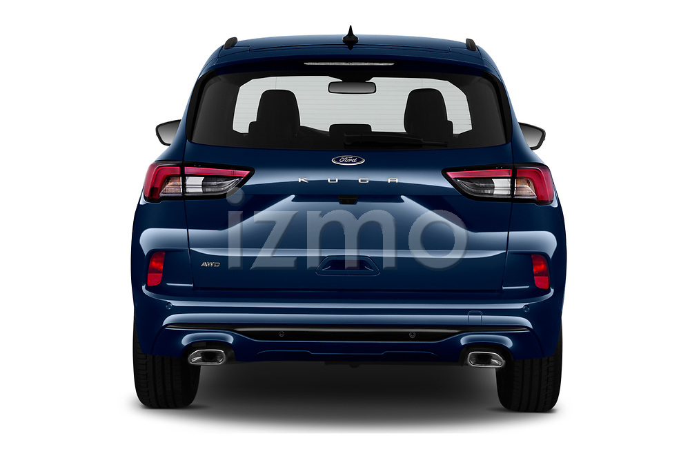 Straight rear view of 2020 Ford Kuga ST-Line 5 Door SUV Rear View  stock images