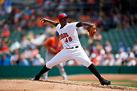 Indianapolis Indians pitcher Yefry Ramirez (48) during an International League game against the Syracuse Mets on July 17, 2019 at Victory Field in Indianapolis, Indiana.  Syracuse defeated Indianapolis 15-5  (Mike Janes/Four Seam Images)