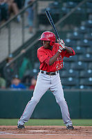AZL Angels shortstop Daniel Ozoria (23) at bat during an Arizona League game against the AZL Athletics at Tempe Diablo Stadium on June 26, 2018 in Tempe, Arizona. The AZL Athletics defeated the AZL Angels 7-1. (Zachary Lucy/Four Seam Images)