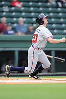 Left fielder Sean Godfrey (20) of the Rome Braves bats in a game against the Greenville Drive on Thursday, July 31, 2014, at Fluor Field at the West End in Greenville, South Carolina. Godfrey is a pick of the Atlanta Braves in the 2014 First-Year Player Draft. Rome won the rain-shortened game, 4-1. (Tom Priddy/Four Seam Images)