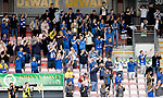 Ross County v St Johnstone…31.07.21  Global Energy Stadium<br />The saints fans applaud as St Johnstone players make their way onto the pitch<br />Picture by Graeme Hart.<br />Copyright Perthshire Picture Agency<br />Tel: 01738 623350  Mobile: 07990 594431