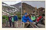 A family peak climb begins below Mount Democrat (14,154 feet = 4,314 meters). Even in summer, we prepare for a bit of snow and cold.<br />