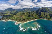 An aerial view of Haena, north shore, Kaua'i