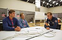 Swiss, Genève, September 14, 2015, Tennis,   Davis Cup, Swiss-Netherlands, Press Conference Dutch team, Thiemo de Bakker is interview bij Tennis magazine<br /> Photo: Tennisimages/Henk Koster