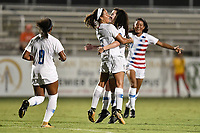 Lakewood Ranch, FL - Wednesday, October 10, 2018:   Mia Fishel, Sophia Jones, goal celebration during a U-17 USWNT match against Colombia.  The U-17 USWNT defeated Colombia 4-1.