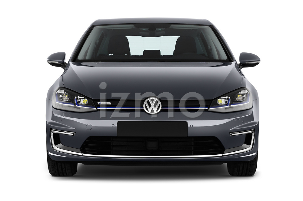 Car photography straight front view of a 2017 Volkswagen Golf e 5 Door Hatchback Front View